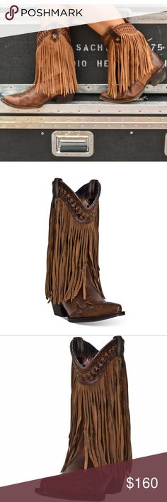 "Dingo Heart Throb Fringe Western Boots Genuine leather/suede Fringe and stitching detail Snip toe Pull straps on 11"" shaft Soft textile lining Lightly cushioned footbed Medium cowboy heel Rubber outsole 2"" heel SIZE 10 worn 1x Great boots are a must for any cowgirl's closet. Keep these in your arsenal. Comfortable & functional, the fringe accents make these boots as fashionable as they are practical. Whether you're out for a ride in the truck or a hard day at the ranch, your feet will be…"