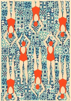 ''Art Deco Print // Swimmers print // Papercut Print by Lou Tayylor Papercuts on Etsy UK Can pattern be editorial illustration? Arte Art Deco, Motif Art Deco, Art Deco Print, Art Deco Pattern, Art Deco Design, Pattern Design, Art Deco Fabric, Art Deco Tiles, Pattern Ideas
