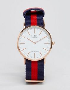 Reloj con correa de lona a rayas en azul marino y rojo exclusivo en ASOS de Reclaimed Vintage Inspired