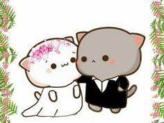 Cute Anime Cat, Cute Bunny Cartoon, Cute Cartoon Images, Cute Kawaii Animals, Cute Couple Cartoon, Cute Love Cartoons, Kawaii Cat, Cute Cat Gif, Cute Cartoon Wallpapers