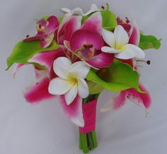 Tropical Wedding Bouquet Arranged With: White/Yellow Plumeria (Frangipani), White/Hot Pink Stargazer Lilies, Hot Pink Orchids & Green Calla Lilies••••