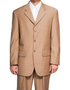 New Men's 3 Button Single Breasted Tan (Beige) Dress Suit