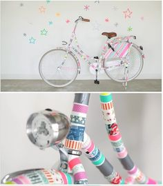 Can't stop gawking at this washi tape bicycle. Wow!