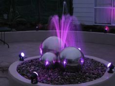 Led Lights Illuminate A Small Home Water Feature Waterfeature