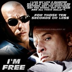 Vin Diesel Gallery - Just one of Dom's many fa. Fast And Furious Cast, The Furious, Paul Walker Tribute, Rip Paul Walker, Vin Diesel Quotes, Paul Walker Quotes, Dom And Letty, Furious Movie, Randy Orton