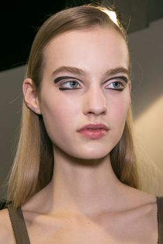 'Bambi eyes' took on a new form at Rochas in Paris where makeup artist Lucia Poeroni graphically painted the models' upper and lower eyelids with floating black liner.   - Cosmopolitan.co.uk
