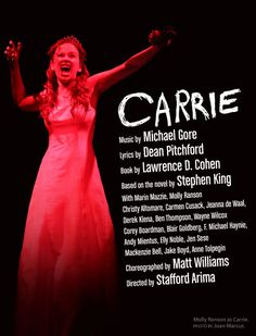 Saw this back in March.loved the book, the movie and the show. Dark, funny, and thrilling. Broadway Theatre, Musical Theatre, Broadway Shows, Trauma, Carrie The Musical, Christy Altomare, Stephen King Novels, Broadway Costumes, Kids