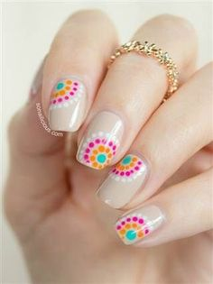 There are three kinds of fake nails which all come from the family of plastics. Acrylic nails are a liquid and powder mix. They are mixed in front of you and then they are brushed onto your nails and shaped. These nails are air dried. Dot Nail Art, Polka Dot Nails, Polka Dots, Dot Nail Designs, Nail Designs Spring, Nails Design, Nail Designs Summer Easy, Cute Nails, Pretty Nails