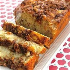 Apple Cinnamon Loaf Cake makes 1 loaf Ingredients: cup brown sugar 1 teaspoon ground cinnamon cup white sugar cup butter, softened 2 eggs 1 teaspoons vanilla extract 1 cups all-purpose flour 1 teaspoons baking powder cup milk 1 apple, peeled and chopped Apple Cinnamon Loaf, Cinnamon Apples, Apple Bread, Ground Cinnamon, Cinnamon Coffee, Raisin Bread, Apple Loaf Cake, Apple Streusel, Cinnamon Chips
