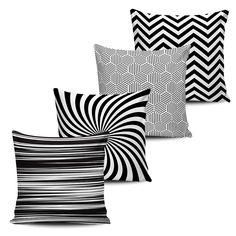 Conjunto 4 Almofadas Decorativas Geometricas - BLACK WHITE-17