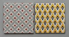 Handmade tiles can be colour coordianated and customized re. shape, texture, pattern, etc. by ceramic design studios Geometric Patterns, Geometric Tiles, Geometric Designs, Graphic Design Pattern, Graphic Patterns, Print Patterns, Motifs Textiles, Textile Patterns, Deco Design