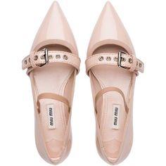 Miu Miu BALLERINA (2,045 PEN) ❤ liked on Polyvore featuring shoes, flats, t-strap mary janes, miu miu flats, ballet flat shoes, strappy ballet flats and strap ballet flats
