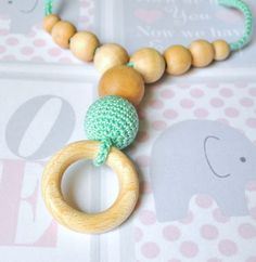 Nursing/Teething Necklace with wooden ring by by Simplyacircle