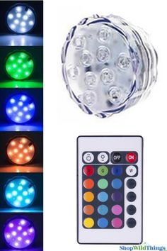 This large submersible Disc LED light with remote control is super bright, changing colors and really easy to use.  Controlled with a remote which is included, these 10 LED lights have a variety of set