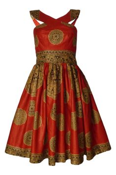 Image of Lola Dress (fusion orange) African Print Dresses, African Print Fashion, African Wear, African Attire, African Fashion Dresses, African Dress, African Prints, Blouse Tutorial, Shweshwe Dresses