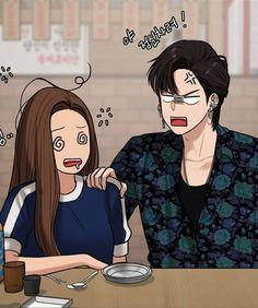 Webtoon Comics, Anime Love Couple, Cute Poses, True Beauty, Dark Art, Cute Couples, Manhwa, Cartoon, Drawings
