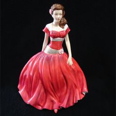 English Rose Royal Doulton Figurine  This lovely Royal Doulton figurine named English Rose wearing a deep red dress with gold accents was designed by N. Pedley. She is from the Nationalities Series and was issued between 2007 and 2009. This elegant figure stands 8.75 inches or 22.2 cm tall.