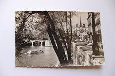 French antique postcard photograph 'La Seine' river Notre Dame black & white 1950s Paris unused