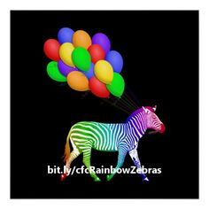 Colorful Rainbow Zebra with Balloons Poster - Run the gamut of color with this fun poster which features a rainbow-colored zebra on his way to a party with a bunch of colorful balloons trailing from strings he's holding in his mouth.   http://www.zazzle.com/colorful_rainbow_zebra_with_balloons_poster-228539845182495470?rf=238083504576446517&tc=pint062816  #homedecor #colorful #wild #animals #wallart #DebiDalio