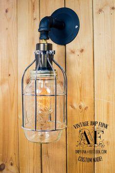 Wall sconce mason jar cage brass socket Edison by VintageAmpFunk