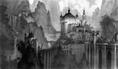 Sinbad's Palace by Seth Engstrom. This is the kind of feel that I want the upper reaches of the mountainous region of Gateway to feel like.