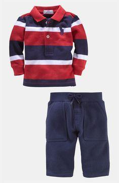New Markdown: Infant Ralph Lauren Stripe Polo & Pants #Nordstrom #NSale