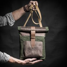 Canvas and leather messenger bag made of British by KrukGarage