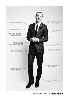 The Right Suit, men take notes! Many men wear suits that are too big or too baggy. Tailoring will be your bff.