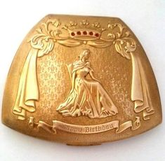 Vintage-Novelty-Elgin-American-Rare-034-HAPPY-BIRTHDAY-034-Queen-Powder-Compact-See
