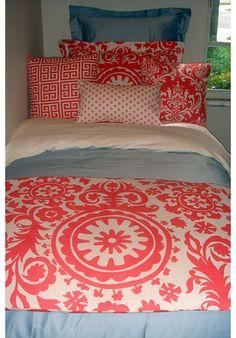Coral Damask Designer Teen & Dorm Bed in a Bag | Teen Girl Dorm Room Bedding