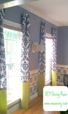 stenciled wall below chair rail- like that. Too much going on with drapery contrast for me but like the walls. I love the two toned curtains Decorating A New Home, Diy Home Decor, Beadboard Wainscoting, Striped Walls, Home Upgrades, Home Projects, New Homes, Wall Decor, House Design