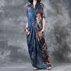 Printing Women Summer Loose Casual Irregular Floral Blue Dress - Buykud