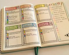 bullet journal weekly spread – ideas and inspiration
