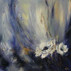 """Soft Dreams"", acrylic, for sale http://www.acrista.com/portfolio/ #art #blue #floral"