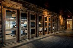 office wall prehung & fixed 3 lite reclaimed wood doors