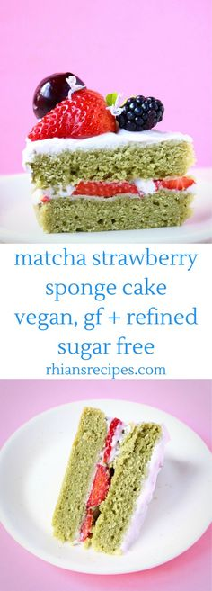 This Matcha Sponge Layer Cake comes with the most delicious strawberry frosting and is loaded with sweet berries! Vegan, gluten-free and refined sugar free Vegan Dessert Recipes, Delicious Vegan Recipes, Healthy Desserts, Real Food Recipes, Delicious Desserts, Cake Recipes, Vegetarian Desserts, Gf Recipes, Family Recipes