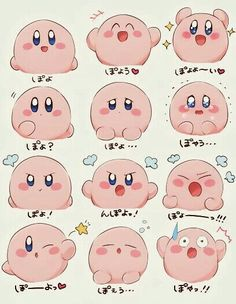 Kirby, text, different expressions, funny; Kirby