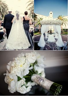 love the idea of vintage costume jewelry on the bouquets.