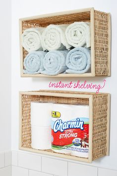 Baskets-turned-shelving are a simple alternative if you don't have a linen closet. Plus, you can customize them to fit any space. Hang a couple in a narrow corner, or stagger several on a larger wall.  - GoodHousekeeping.com