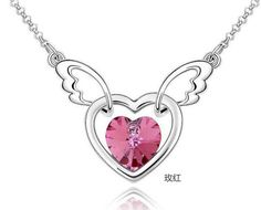 Fashion Womens Heart  Crystal Rhinestone Silver Chain Pendant Necklace HOT @ - https://barskydiamonds.com/necklaces/
