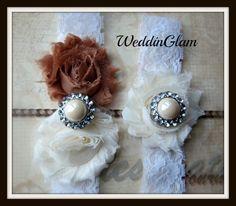 Fall Wedding Garter Sale- Ivory Lace Garter Set -Bridal Garter -Vintage Brown Garter- Bride's gift-vintage gold weddding- Wedding accessory