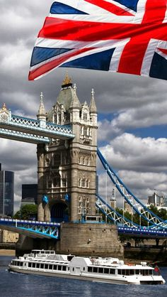 LONDON: Tower Bridge with Old Glory