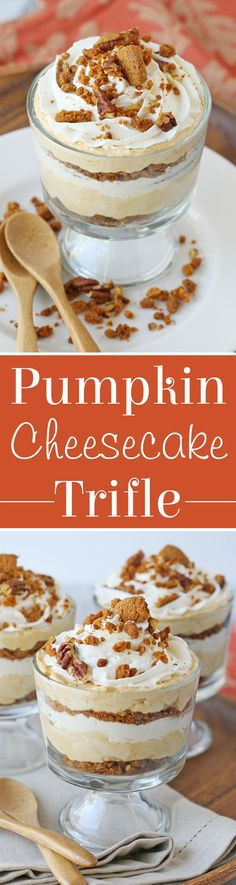 Creamy, flavorful and delicious Pumpkin Cheesecake Trifle! The perfect dessert for a Halloween or harvest celebration. | Glorious Treats
