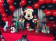 Christmas Mickey Birthday for Nathaniel | CatchMyParty.com
