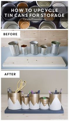 15 tolle DIY-Projekte aus recycelten Blechdosen 15 great DIY projects from recycled tin cans # cans recycling # ideas projects to sell Diy Storage Unit, Craft Room Storage, Storage Ideas, Creative Storage, Home Crafts, Diy Home Decor, Diy Crafts, Garden Crafts, Resin Crafts