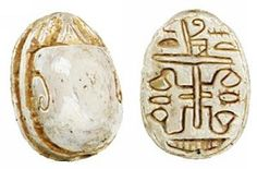 """EGYPTIAN, carved white limestone #scarab beetle #pendant. On the bottom, incised #hieroglyphics.  18th Dynasty. 1570-1342 BC (1/2""""). Visit our website: http://www.sadighgallery.com/Ancient_Scarab_26634  #Egyptian"""