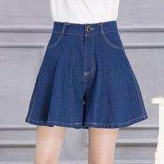 Denim Shorts Skirts Jeans Blue Summer Hot Loose Wide Leg Shorts Women Sexy Casual Skirt Fashion Short Femme 2017
