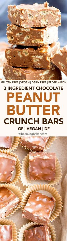 3 Ingredient Chocolate Peanut Butter Crunch Bars (V, GF): a one bowl recipe for rich, decadent chocolate peanut butter bars bursting with crispy crunch. #Vegan #GlutenFree #DairyFree | BeamingBaker.co