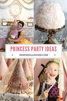 Pretty princess hats for a little girl's party! Pretty floral and lace galore.celebrate your little princess with a beautiful princess party! Birthday Party Treats, 1st Birthday Party For Girls, 1st Birthday Party Decorations, Princess Birthday, Birthday Parties, Princess Hat, Little Princess, Vintage Princess Party, Diy Party