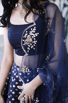 Navy blue crop top lehenga with gold dupatta. Click on image for price. #Frugal2Fab